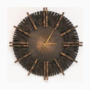 Vintage Brutalist Cast Iron Clock