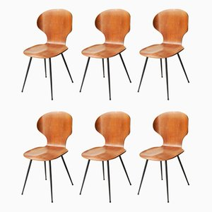 Teak and Metal Dining Chairs by Carlo Ratti, 1950s, Set of 6