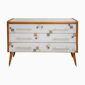 Murano Glass and Wood Dresser, 1980s