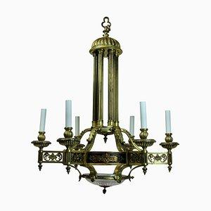 Lámpara de araña francesa antigua de bronce dorado