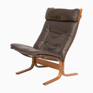 Brown Leather Lounge Chair by Ingmar Relling for Westnofa, 1970s
