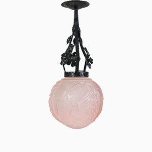 Art Deco French Pink Peacock Pendant Lamp by Muller Frères for Muller Frères, 1920s