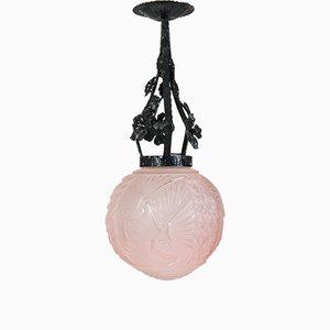 Lampe à Suspension Paon Rose Art Déco par Muller Frères pour Muller Frères, France, années 20
