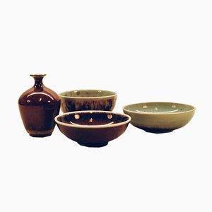 Vintage Bowls and Vase Set by Sven Hofverberg
