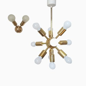 Chandelier and Wall Lamp from Drupol, 1968, Set of 2