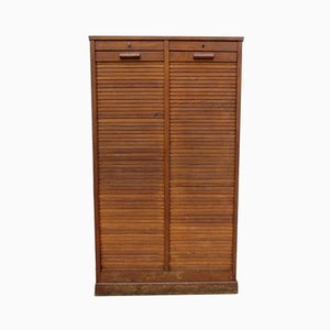 French Oak Haberdashery Tambour-Front Cabinet, 1940s