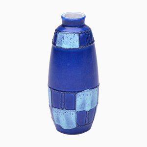 Kleine blaue ostdeutsche Keramikvase von Strehla Keramik, 1950er