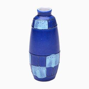 Vaso in ceramica blu di Strehla Keramik, Germania Est, anni '50