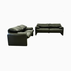Black Leather Maralunga Sofas by Vico Magistretti for Cassina, 1990s, Set of 2