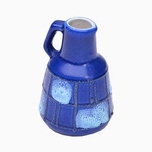 Jarrón de Alemania Oriental pequeño de cerámica azul de Strehla Keramik, años 50