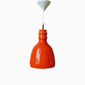 Orange Glass Space Age Ceiling Lamp, 1970s