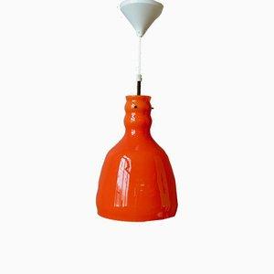 Space Age Deckenlampe aus orangefarbenem Glas, 1970er