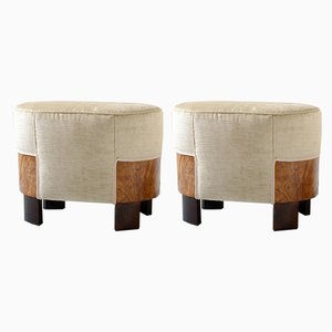Art Deco Italian Beige Velvet Ottomans from Meroni e Fossati, 1930s, Set of 2