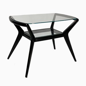 Mid-Century Italian Black Lacquered Wooden Coffee Table, 1950s