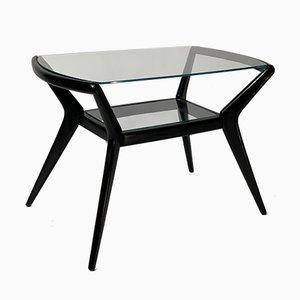 Table Basse Mid-Century en Bois Laqué Noir, Italie, années 50