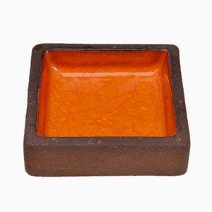 Scodella piccola in gres arancione di Knabstrup, anni '60