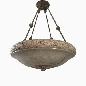 Large Art Nouveau Style Swedish Carved Alabaster Pendant Lamp, 1920s