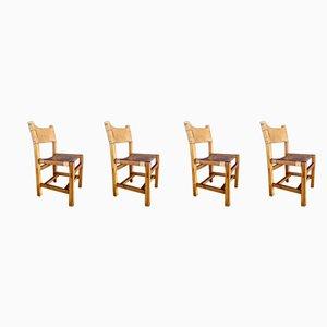 Beistellstühle mit Gestell aus Ulmenholz & Sitzbespannung aus Leder von Maison Regain, 1970er, 4er Set