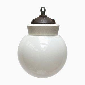 Deckenlampe aus Opalglas, Porzellan & Gusseisen, 1950er
