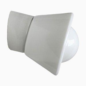 Applique in porcellana bianca e vetro trasparente, anni '50