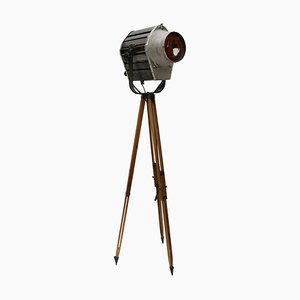 Gray Metal Theater Tripod Floor Lamp, 1950s