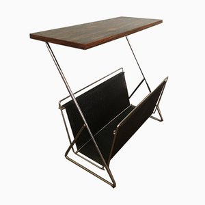 Rosewood and Steel Magazine Rack, 1960s