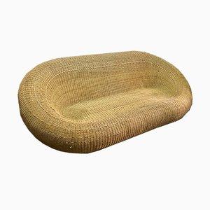 Oval Rattan Sofa, 1970s