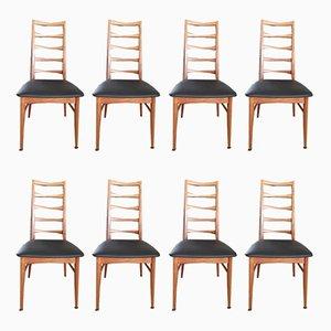 Esszimmerstühle mit Bezug aus Leder von Niels Koefoed, 1960er, 8er Set