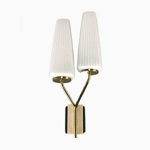 Tütenlampe aus Glas & Metall, 1960er
