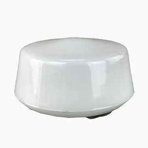 Mid-Century White Flush-Mount Ceiling Lamp