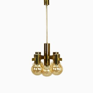 Brass and Glass Ceiling Lamp by Hans Agne Jakobsson, 1960s