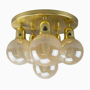 Lámpara de techo Orbit vintage de latón, años 70