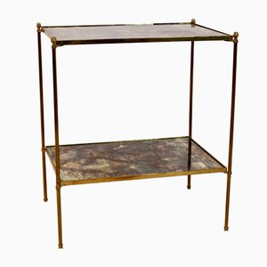 Brass and Glass Side Table from Maison Charles, 1970s