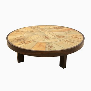 Tiled and Oak Art Coffee Table by Roger Capron for Roger Capron, 1970s