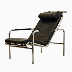 Chaise longue Genni in pelle nera e metallo cromato di Gabriele Mucchi per Zanotta, anni '30