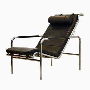 Chrome and Black leather Genni Chaise Lounge by Gabriele Mucchi for Zanotta, 1930s