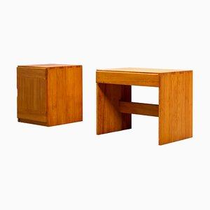 Tavolo in olmo e mobiletto di Roland Haeusler per Maison Regain, anni '70, set di 2