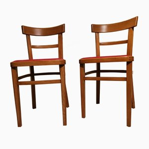 Mid-Century Beech and Red Vinyl Dining Chairs, 1960s, Set of 2