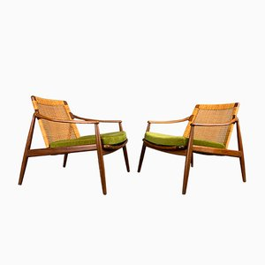 Walnut Easy Chairs by Hartmut Lohmeyer for Wilkhahn, 1960s, Set of 2