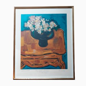 Flowers Lithograph by Kischka, 1960s