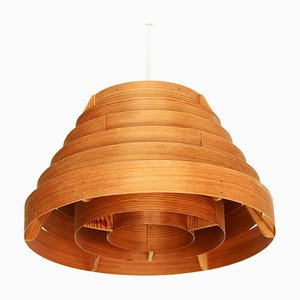 Swedish Model T454 Buttle Pine Veneered Pendant Lamp by Hans-Agne Jakobsson for Ellysett, 1960s