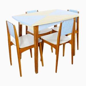 Tavolo da pranzo con quattro sedie, anni '60