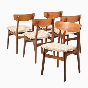 Chaises de Salle à Manger Mid-Century en Teck de Farstrup Møbler, Set de 5