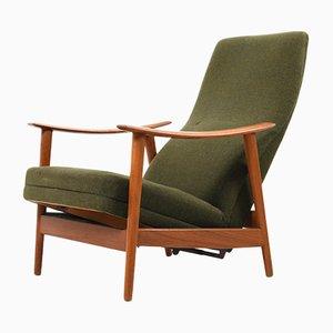 Sillón reclinable danés Mid-Century de teca