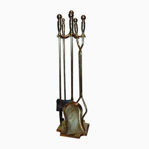 Accessoires de Cheminée Mid-Century en Laiton, Set de 5