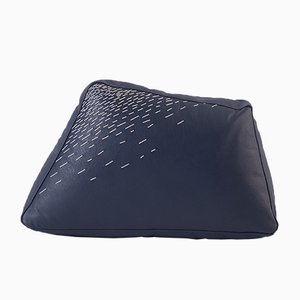 Pita Small Blue Leather Cushion by Caterina Moretti