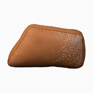 Pita Small Orange Leather Cushion by Caterina Moretti