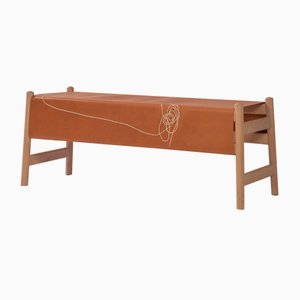 Trazo Leather Bench by Caterina Moretti and Justine Troufléau