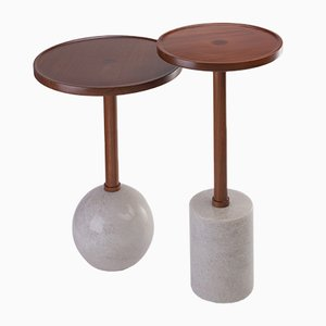 Sphere Monterrey Side Table in White Marble by Caterina Moretti for Peca