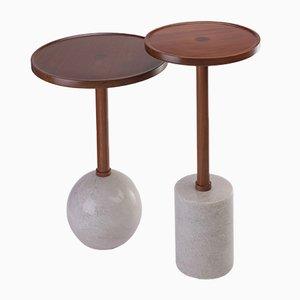 Tavolino sferico Monterrey in marmo bianco di Caterina Moretti per Peca